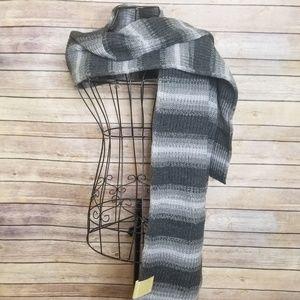 NWT Michael Kors gray knit stripe muffler scarf